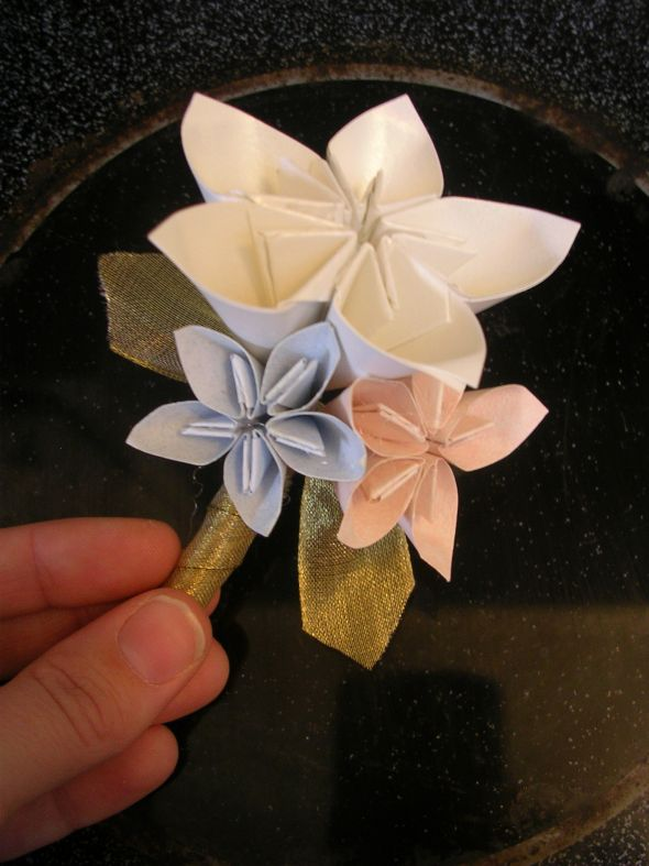 My DIY paper flowers soon to be bouquet and grooms bout!