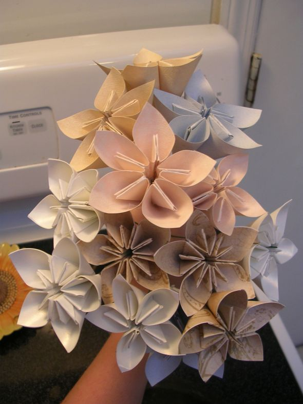 my unfinished paper flower bouquet and bout. :  wedding blue ceremony diy flowers gold ivory pink white DSCN1172