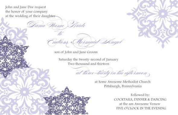wedding invites snow purple winter snowflakes silver Wedding Bee Invite
