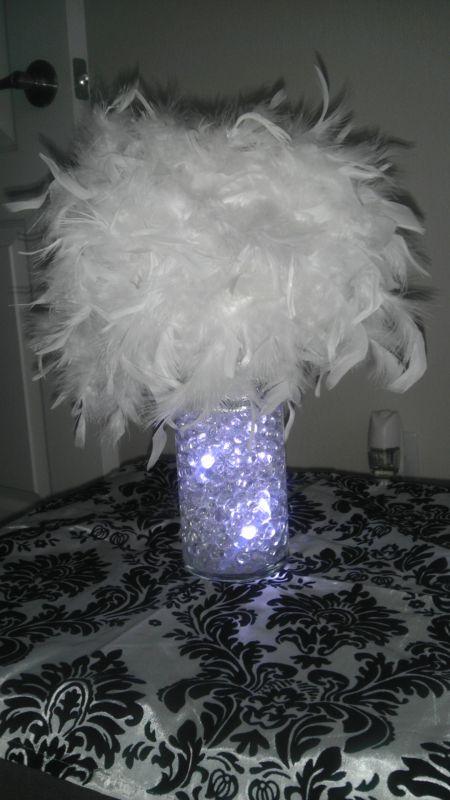 My diy feather centerpiece weddingbee photo gallery