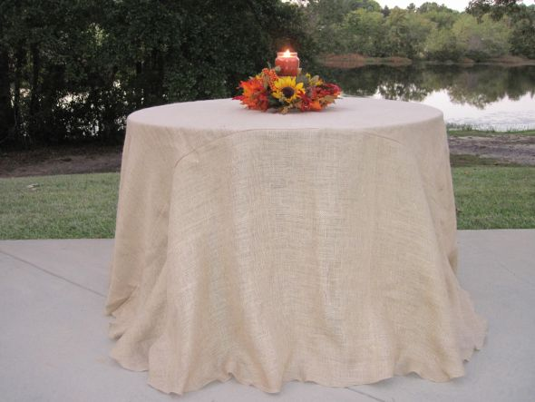 Burlap Tablcloth white tablcloth wire bale mason Jars and galavanized tins