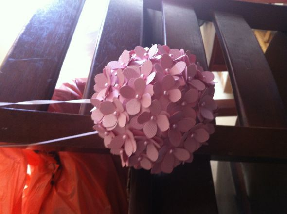 Pic my diy pomander ball i love it it to me at least looks just like the inspiration picture it was so easy im going to use the paper flowers on my cake table with a wooden mightylinksfo