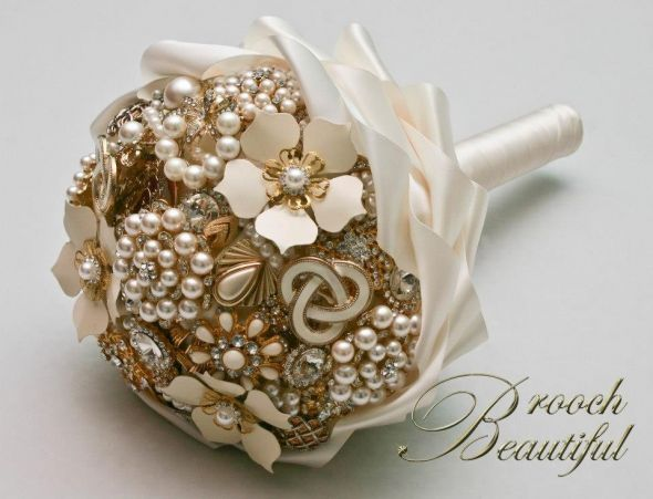 Ivory golden pearl brooch bouquet weddingbee photo gallery for Gold flowers for wedding bouquet