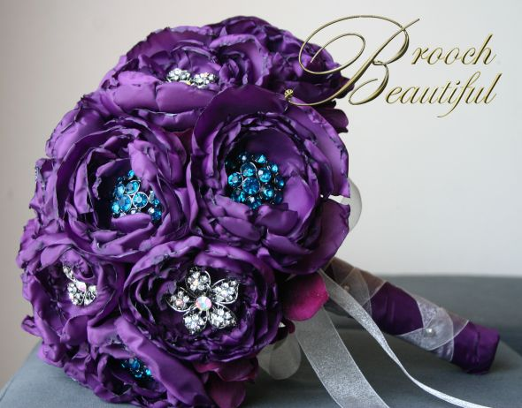 Purple Handmade Peony &amp; Brooch B