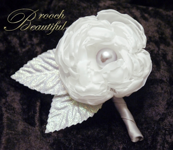 Fabric Peony Boutonniere