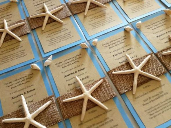 My hand made beach wedding invitations so i decided to give it a go myself were having a destination wedding at a beachside resort here are our wedding invitations hand made by me solutioingenieria Images