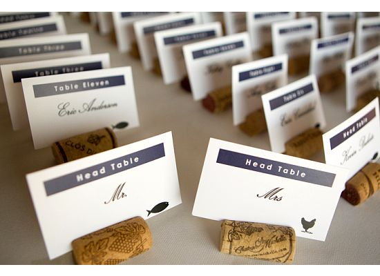 I had huge sucess with Cork Place Card holders at my wedding