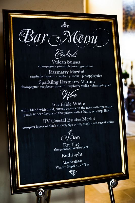 Cocktail bar menu on chalkboard