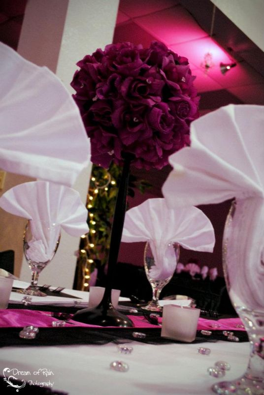 Hot Pink Floral Centerpieces wedding pink black flower roses diamond