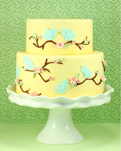 Share small cake pics please wedding cake Yellow Blue Birds Cake
