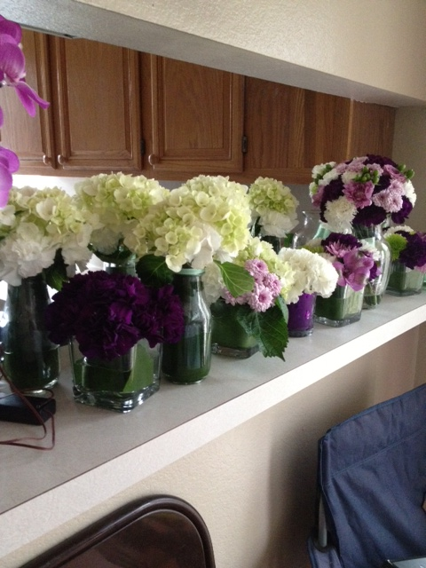 White, Purple, and Green Low Centerpieces :  wedding flowers green purple reception white Florigene.1