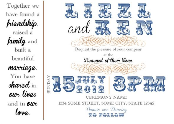 Vow Renewal Invite Draft wedding diy invitation vow renewal vintage modern