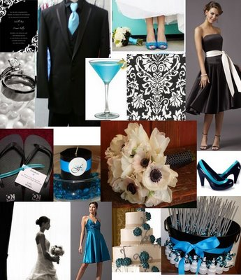 wedding Black White Teal
