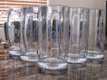 Etched Groomsmen Beer Steins