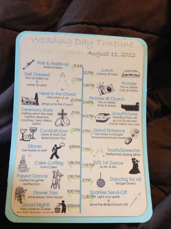 Timeline wedding timeline schedule teal black green white ivory ceremony