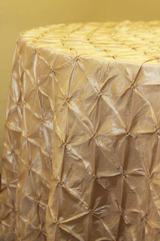 FS: Champagne pinch wheel taffeta linens :  wedding Champpinchl
