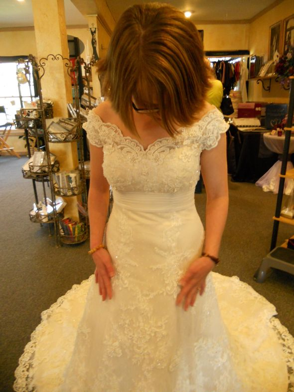 The real deal! :  wedding casablanca champagne dress Dress Front