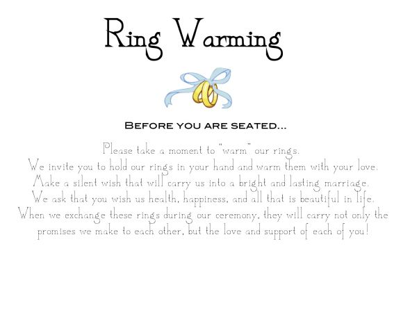 Ring Warming Ceremony Sign