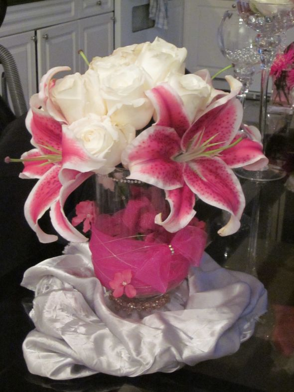 Lily and Rose Fuschia centerpiece