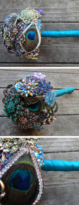 Peacock Brooch Bouquet :  wedding black blue bouquet brooch brown flowers gold green ivory navy orange peacock pink purple red silver teal white yellow Peacock Bouquet