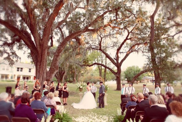 My Fairytale Outdoor Ceremony :  wedding black ceremony dress flowers green inspiration pink silver teal white Complete Ceremony