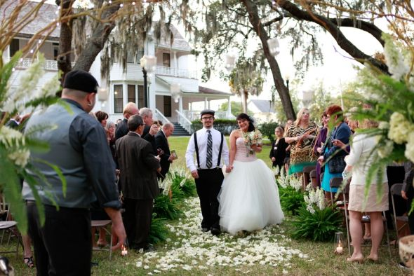 My Fairytale Outdoor Ceremony :  wedding black ceremony dress flowers green inspiration pink silver teal white WALKING