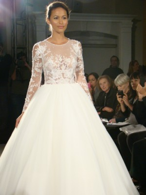 Dennis Basso High Neck Long Sleeve Ball Gown – real brides???