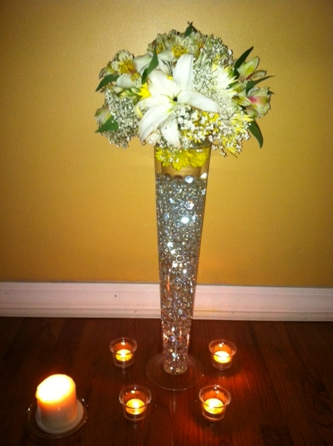 Tall Centerpieces wedding gold flowers diy reception Tall Centerpiece