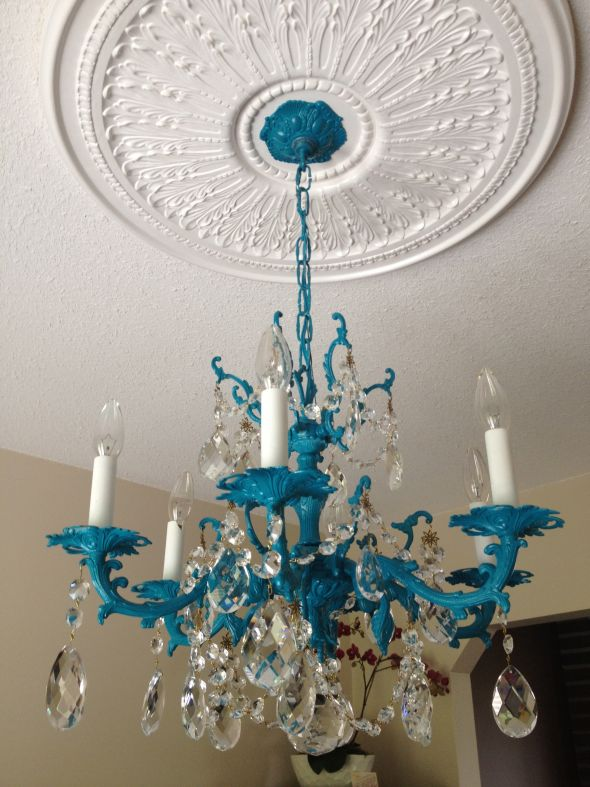 handmade double blue lights recycled in lovers lampshade teal glass product sky chandelier chandeliers titania small