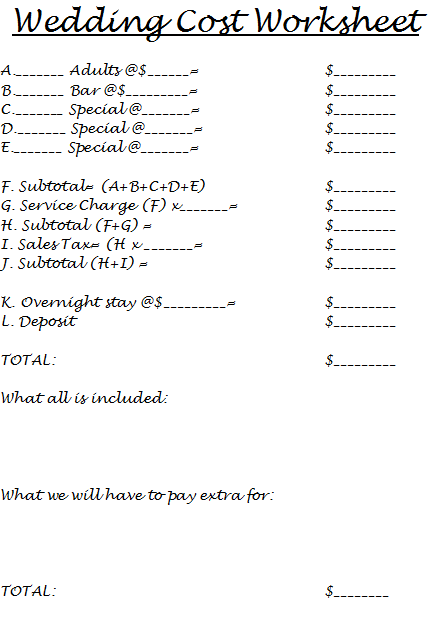 Wedding cost worksheet