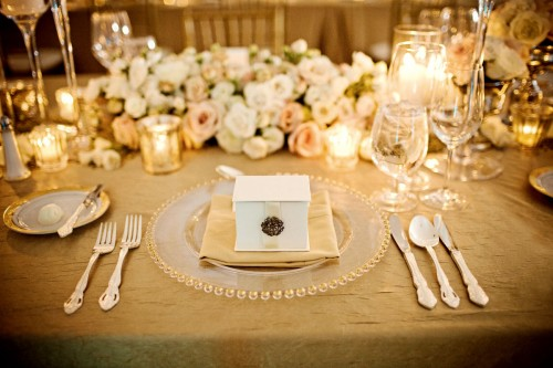 Vintage Theme Wedding Ideas: What do you think? (Pic Heavy) :  wedding 1950s vintage classic wedding october fall wedding Gold And Cream Table Setting Place Setting Wedding Gold Linens