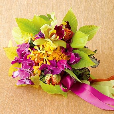 wedding flowers purple bouquet centerpieces Tropical Punch