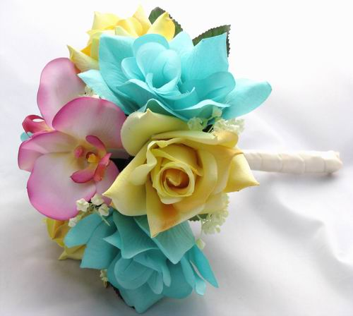 wedding AqaWhiteSET What colour flowers for our aqua blue black white