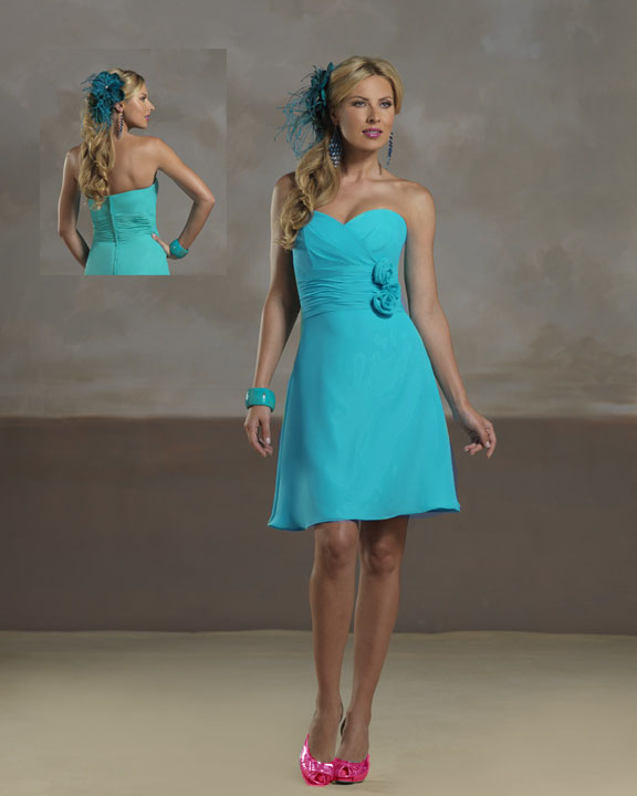 Blue Dress No Colored Sash And Pink Shoes