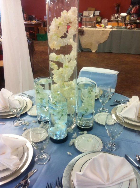 Faux Rose Petal String wedding centerpiece faux rose petal vase satin