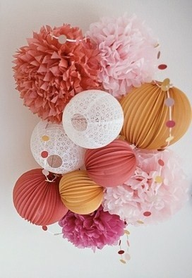Ideas for ceiling decorations at the reception pic heavy for Hanging pom poms from ceiling