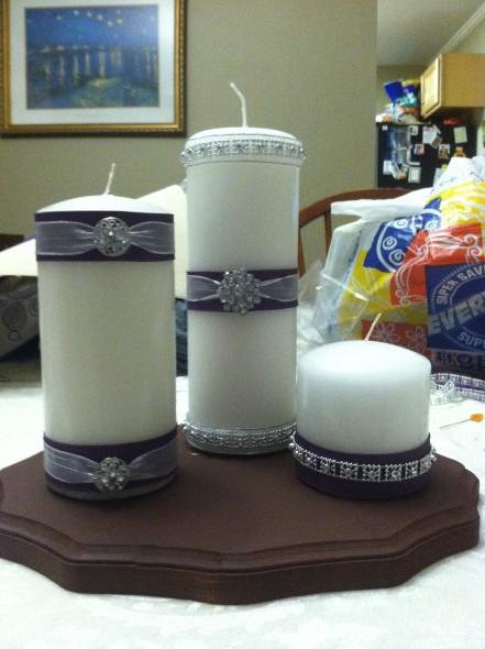 Easy, Completely DIY, In Loving Memory Candles :  wedding brown candle ceremony diy in inspiration loving memory purple reception silver simply white Photo 3