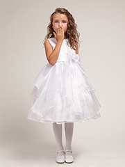 Organza ruffles flower girl dress