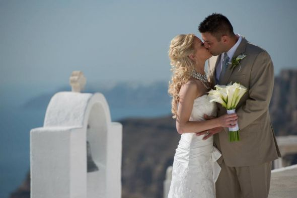 We're Married! :  wedding calla lily ceremony destination greece photos real santorini Santorini Wedding