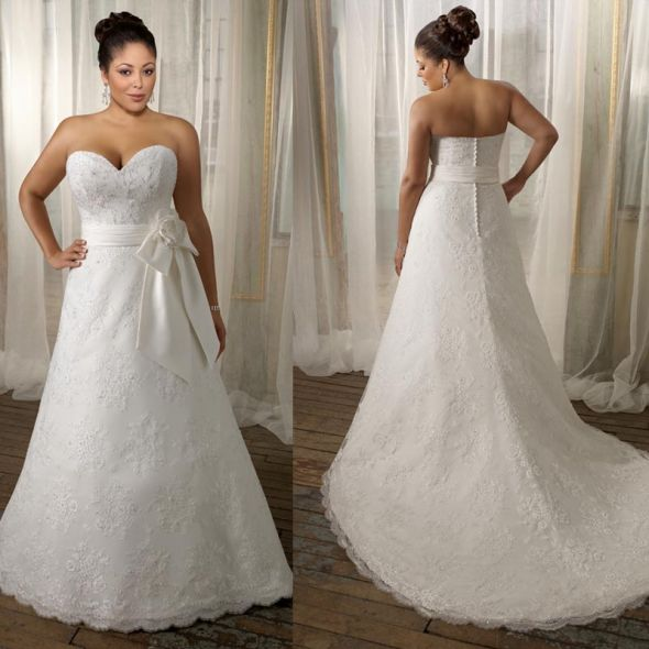 DRESS question wedding Strapless Sweetheart A Line Lace Plus Size Wedding