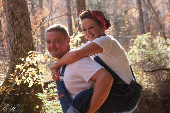 Vintage/Overalls Engagement Session :  wedding bandana country creek engagement fall guitar overalls pictures ring tree vintage IMG 4771 XL