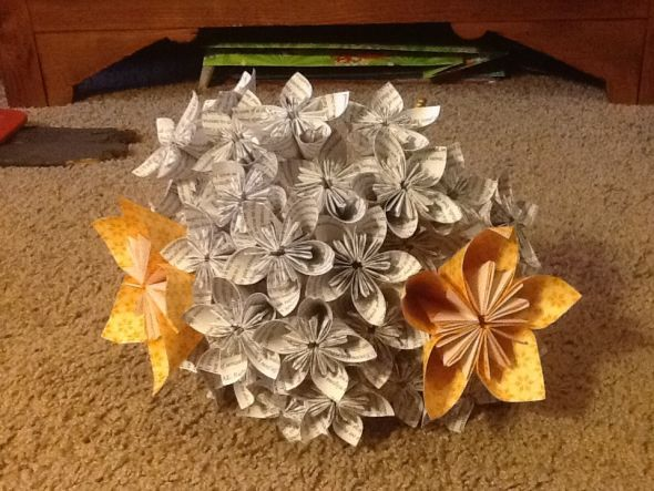 What do you think of my paper flower bouquets and how can i make so i started churning out small kusudama flowers made out of book paper i put them on dowel rods which i stuck into a syto ball this is what i got mightylinksfo