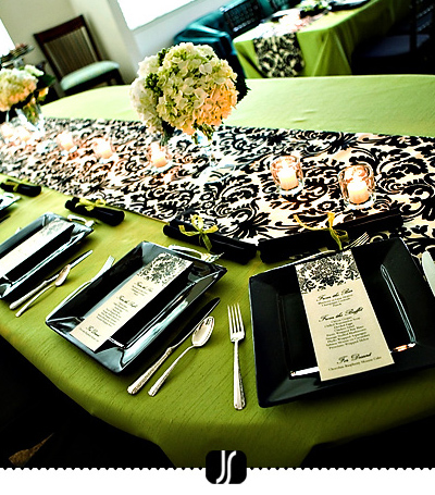 Black white accents of green This is the look for my bridesmaids