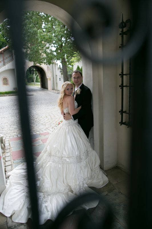 My Amalia Carrara gown 06/01/2012 :  wedding bouquet ceremony dress flowers jewelry makeup reception Anya And Eugene 0382