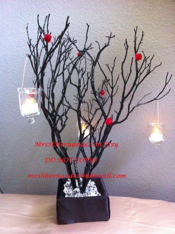 DIY Manzanita Tree Centerpiece wedding manzanita tree centerpiece diy