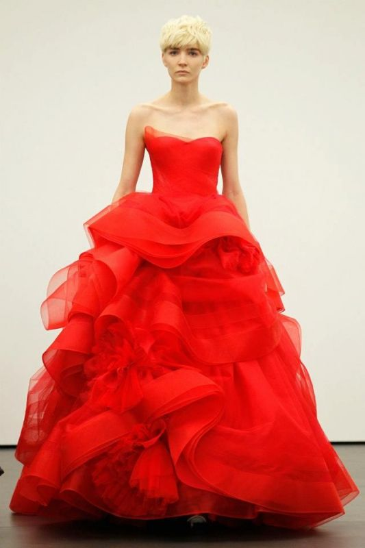 Vera wang s red wedding dresses for Red and white wedding dresses 2012
