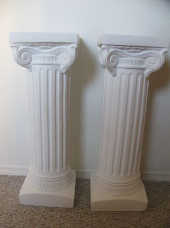 2 White 3ft Plaster Columns wedding pedestals columns wedding ceremony