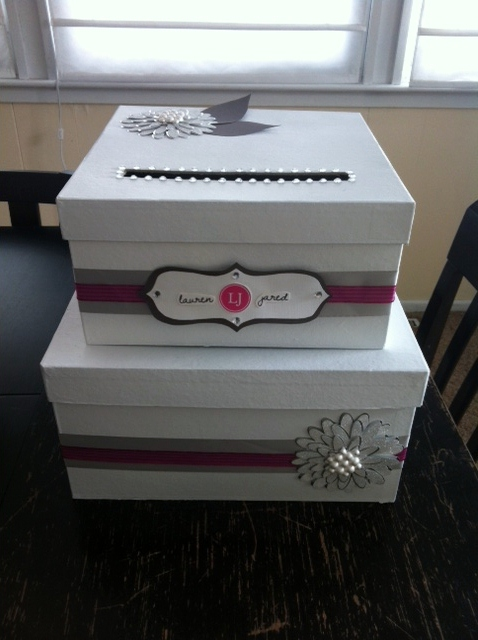 white silver & fuchsia DIY card box