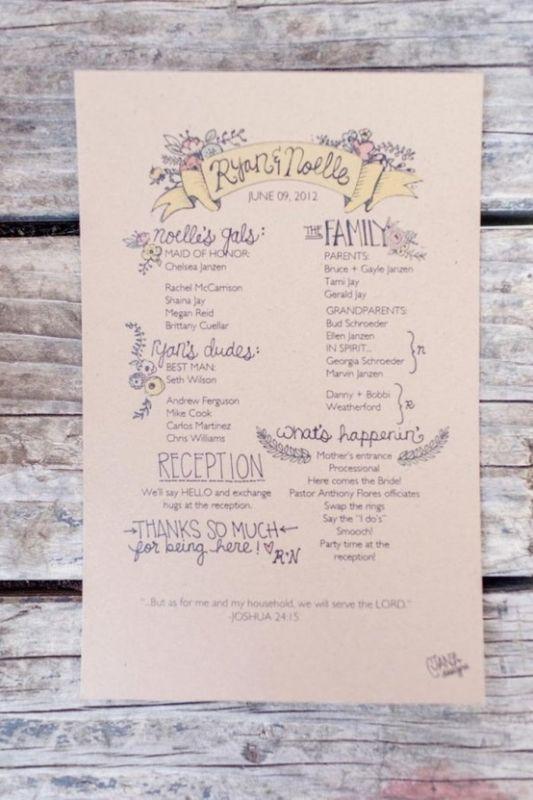 single page wedding program template koni polycode co