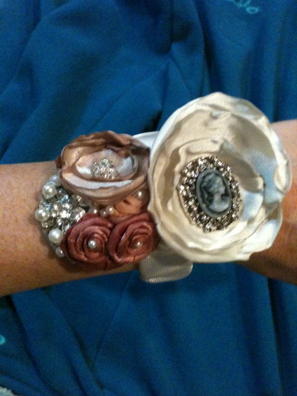 vintage inspired mother and grandmother corsage :  wedding bouquet flowers inspiration ivory jewelry pink Phone Imports 116